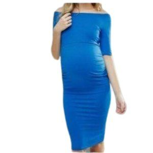 ASOS Blue Bardot Maternity Dress NWT